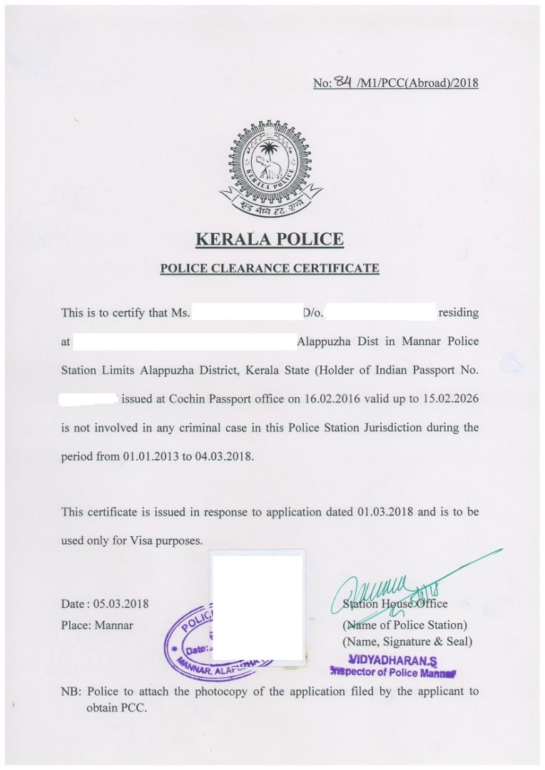 Obtaining police clearance certificate from india attestation on time obtaining police clearance certificate altavistaventures Gallery