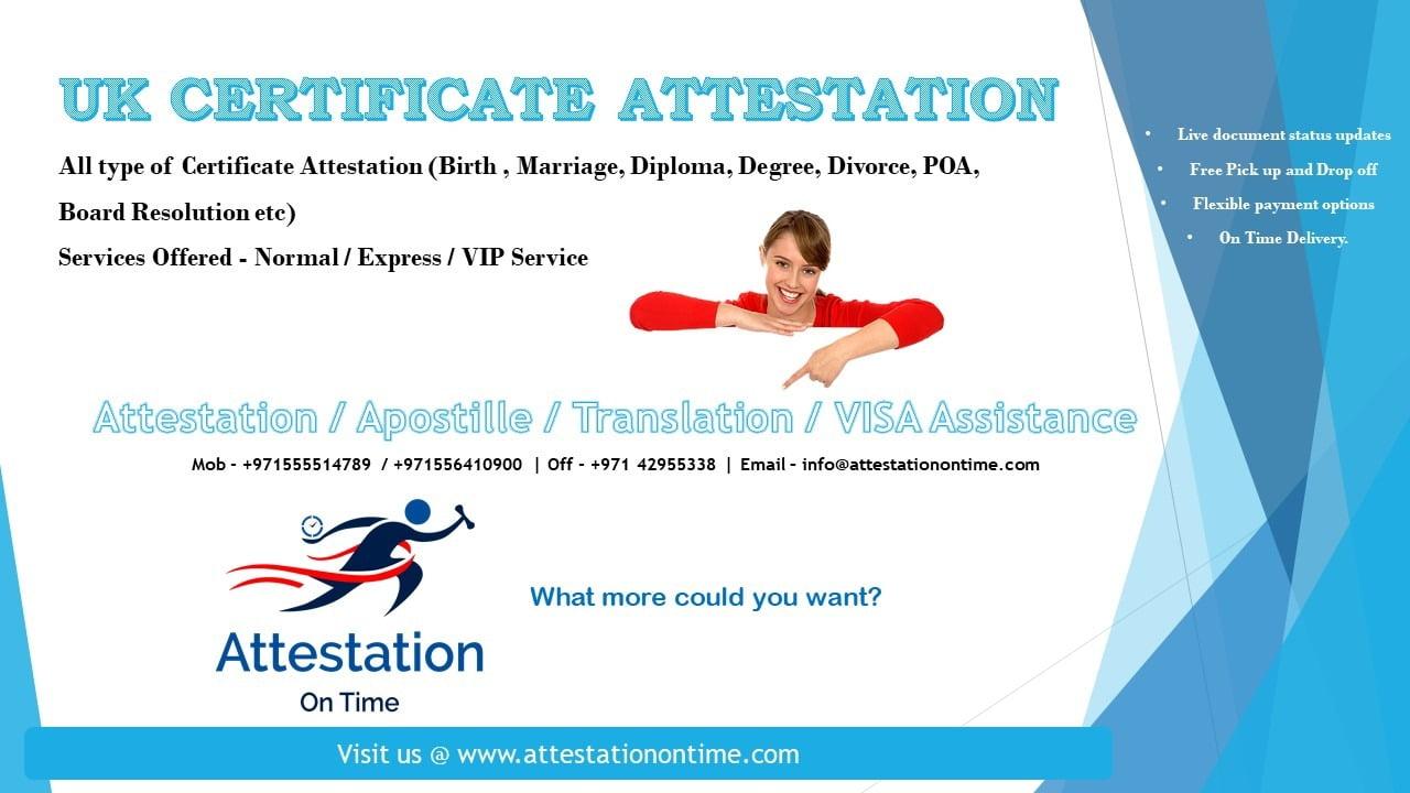 UK Certificate Attestation Dubai